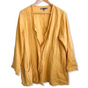 FLAX Golden Yellow Button Front Linen Top Cardigan